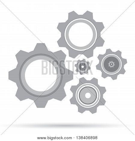 Gear set design on white background. Grey gear.
