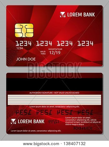 Credit cards two sides design vector illustration for your business. Electronic card for banking operation and plastic card bank