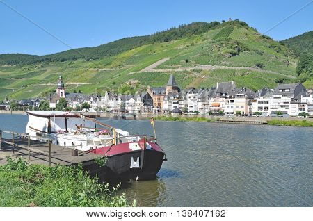 Wine Village of Zell at Mosel River in Mosel Valley,Rhineland-Palatinate,Germany