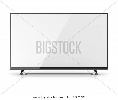 Blank screen 4k hd television This is a 3d computer generated image. Isolated on white.