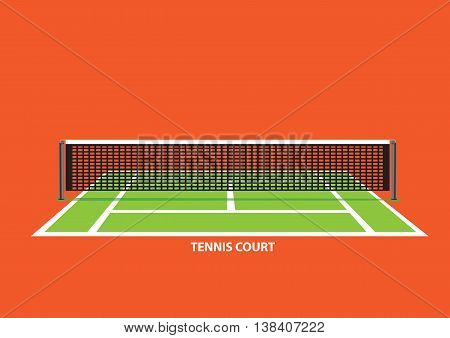 Empty tennis court with divider net in the middle viewed from one end of court. Vector illustration isolated on vibrant orange background.