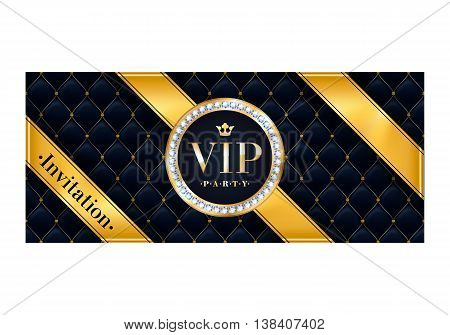 VIP party premium invitation card poster flyer. Black and golden design template. Quilted pattern decorative background with gold ribbon and round badge.