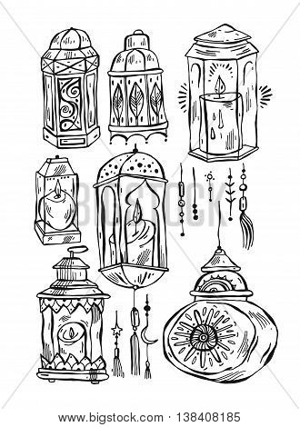 Hand drawn vector Ramadan Kareem and mosque backgroundbeautiful greeting card design elements.Make your own ramadhan laterns.Arabic lined flashlights isolated on white.Sign design elements.
