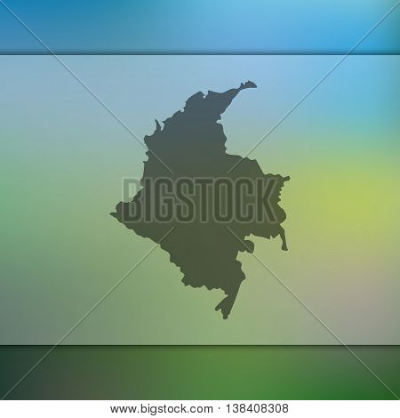 Colombia map on blurred background. Blurred background with silhouette of Colombia. Colombia. Colombia map.