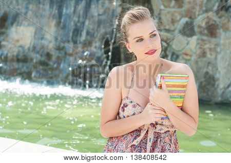 Beautiful Lady Holding Diary Or Agenda Outside