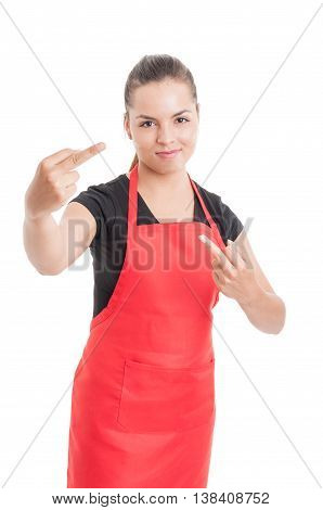 Offensive Gesture Concept With Female Market Employee
