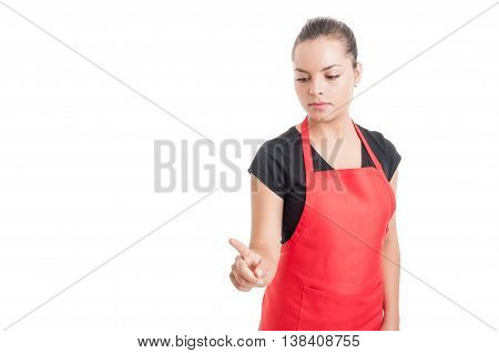 Young Female Market Employee Pointing Something Down