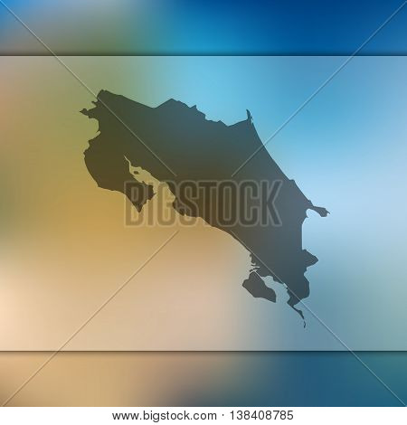 Costa Rica map on blurred background. Silhouette of Costa Rica. Costa Rica. Costa Rica map.