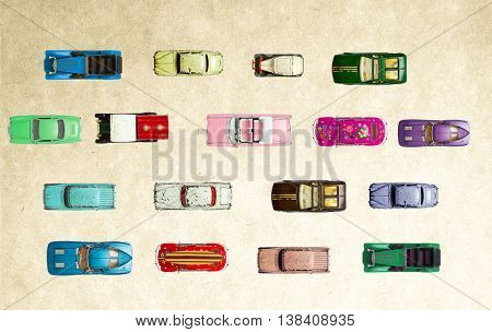 a colection of old tin toy cars shot from above