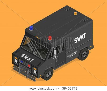 Vector isometric swat van, police, military illustration