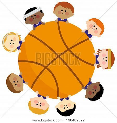 A basketball and a boys children team
