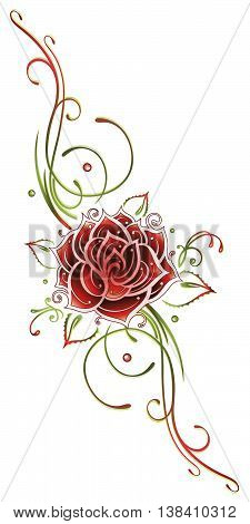 Red rose with filigree tendril, Tribal. Red and green.