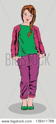 cute girl wearing purple jeans and a green shirt standing and smiling