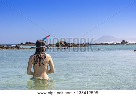 Rear View Of Brunette Woman Wearing Snorkel And Mask Looking To The Ocean On Beach Summer Holidays V