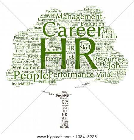 Concept conceptual hr or human resources management abstract tree word cloud isolated on background