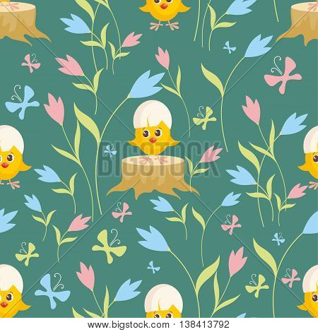 Little yellow chick. Colorful children's seamless pattern in cartoon style.
