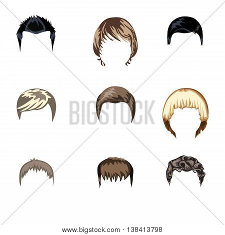 Set of boys hairstyle. Flat vector illustration. Grouped for easy editing.