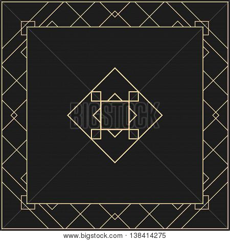 Vector geometric frame in Art Deco style. Square vector abstract element for design. Art Deco border. Light golden vector frame.