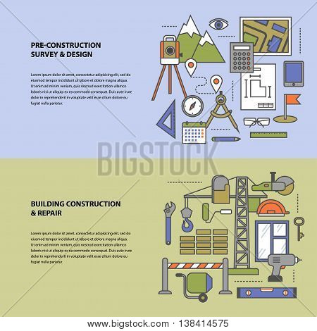 Vector conceptual icon set construction and repair. Conceptual banners from a set of steps icons, objects and tools with contours in soft colors. Preparation, construction and repair. Modern flat concept icon character set for booklets, brochures, web sit