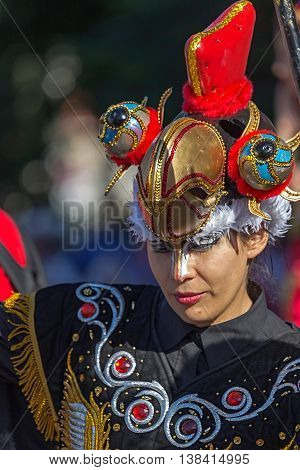 ROMANIA TIMISOARA-JULY 7 2016:Young girl dancer from Chile in traditional costume present at the international folk festival