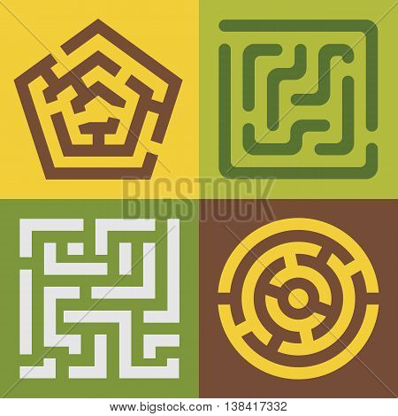 Set of vector colorful mazes. Different shapes and colors EPS 8.