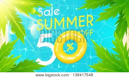 Beautiful background on the sea topic with palm trees and with sun ligths. Vector discount illustration. Shiny holiday backdrop.