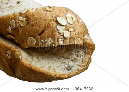 twist of slice whole wheat bread isolated on white background