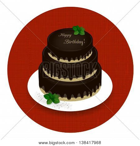 three-tiered chocolate cake with the words Happy Birthday