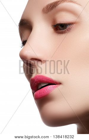 Perfect Lips. Professional Make-up. Lipgloss. Closeup Portrait
