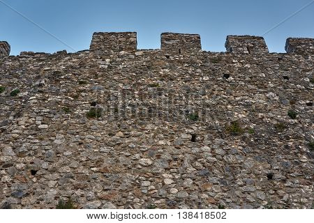 Fragment walls of the medieval Crusader castle in Platamonas in Greece