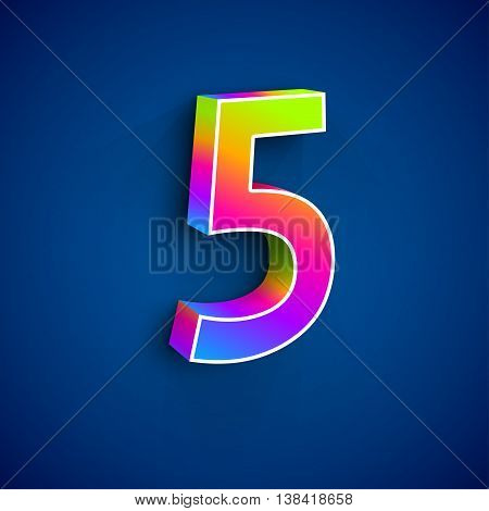 3d Number Five. Colorful figure 5 on Blue Background