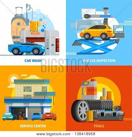 Auto service 2x2 design concept set of car wash vehicle inspection service center and tools for repair flat vector illustration