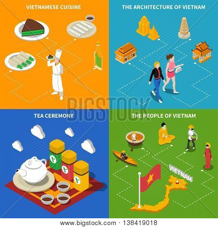 Vietnamese tea ceremony and landmarks for tourists 4 flat isometric icons square poster abstract isolated vector illustration
