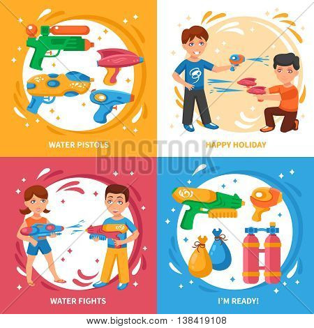 Water pistols concept icons set with water fights and happy holiday symbols flat isolated vector illustration