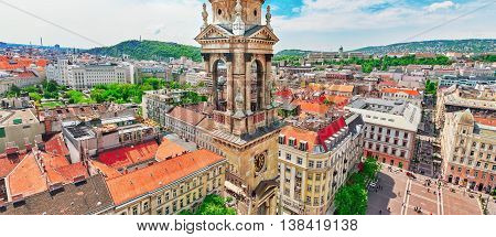Budapest, Hungary-may 04, 2016: City Square  Near St.stephen Basilica In Budapest At Daytime, People