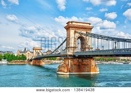 Szechenyi Chain Bridge-one Of The Most Beautiful Bridges Of Budapest, Hungary.
