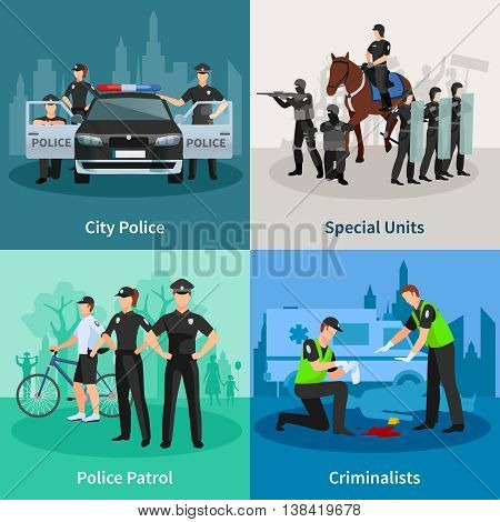Police people 2x2 flat concept set of city police special units criminalists  and police patrol design compositions vector illustration