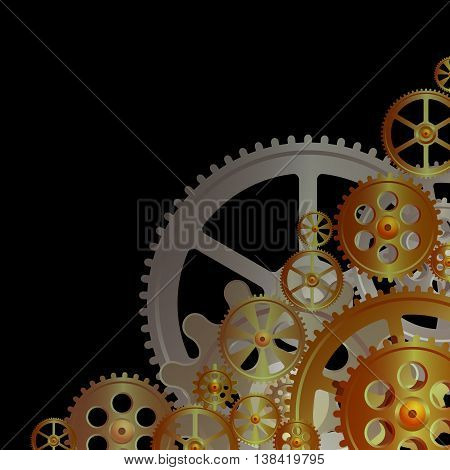 bronze gears on the black background vector illustration clip-art
