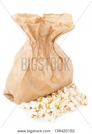 Popcorn bag on white background