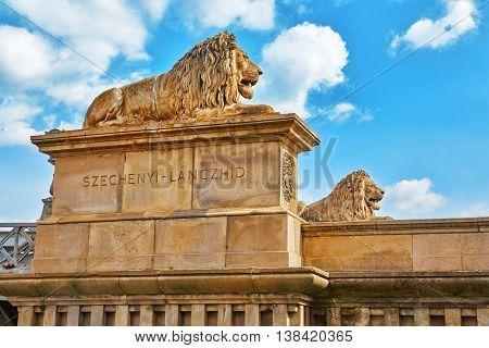 Lion On The Szechenyi Chain Bridge At Morning Time. Budapest, Hungary