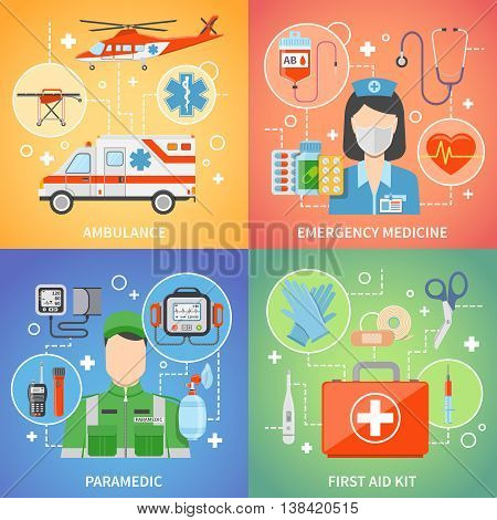 Paramedic 2x2 design concept set with medical equipment for first aid and emergency medicine flat vector illustration