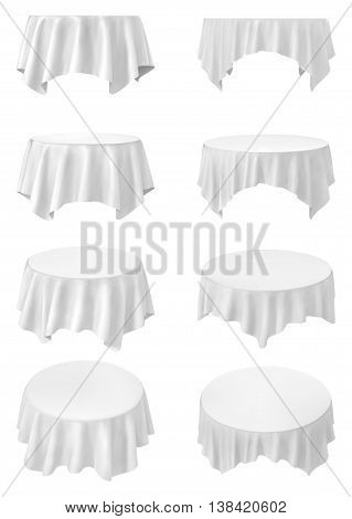 White round tablecloth set isolated on white ,vector illustration .