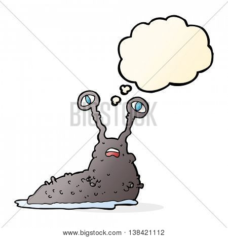 cartoon gross slug with thought bubble