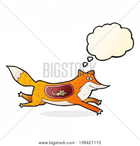 cartoon fox with mouse in belly with thought bubble