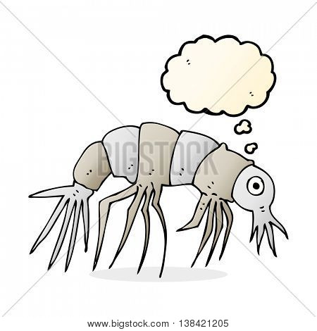cartoon shrimp with thought bubble