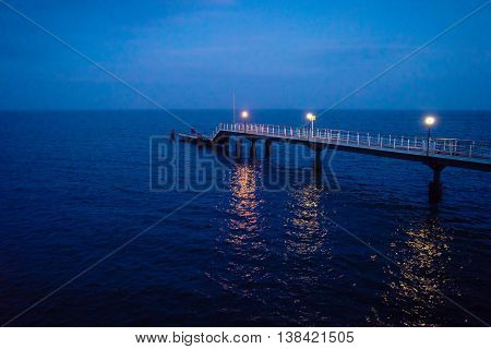 sea pier at venice beach florida at night
