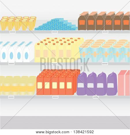 supermarket shelves with a variety of products on a white background