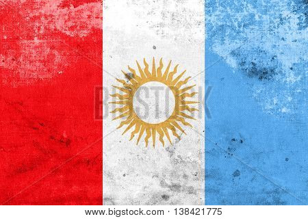Flag Of Cordoba Province, Argentina, With A Vintage And Old Look