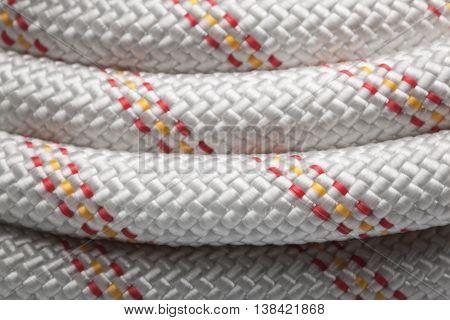 Macro of new nylon rope in hank