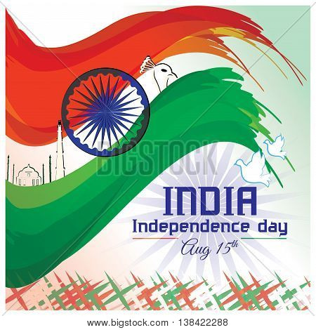 Indian tri-color flag abstract art with glory of the country.Independence day poster design